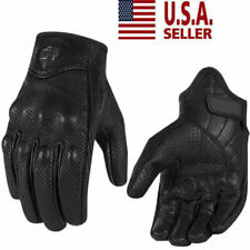 Perforated Pursuit Street Stealth Leather Motorcycle Gloves M/L/XL Black US