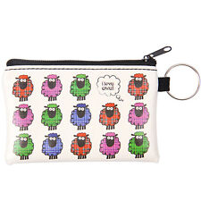 Scottish Tartan Cartoon Multi Sheep Travel Keyring Small Card Coin ZIPPED Purse