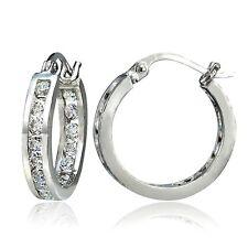 Sterling Silver Cubic Zirconia Inside Out Channel-Set 15mm Round Hoop Earrings