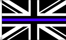Support British Police Thin Blue Line Union Jack Emergency Service 5'x3' Flag