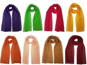 Beautiful Ladies Women Plain Chiffon Scarf Sheer Light Weight Neck Wrap Shawl
