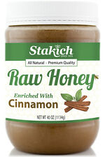 40 oz Cinnamon Enriched Raw Honey Organically Produced Pure Natural Gluten Free