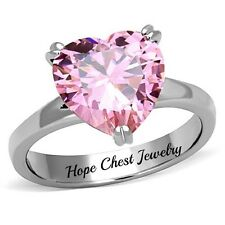 HCJ STAINLESS STEEL 8 CARAT PINK HEART SOLITAIRE CZ ENGAGEMENT RING SIZE 8