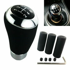 Black Genuine Leather Manual 5 Speed Car Gear Stick Shift Knob Lever Handle Kit