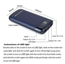 20000mAh LCD Power Bank2USB LED Battery Charger Universal Phone/Tablet Black