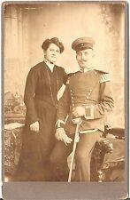 CAB photo Soldat / Ulan mit Epauletten + Dame - 1900er
