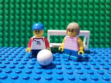 NEW LEGO 2 kids girl & boy minifigures with Soccer Ball and Goal from 60134