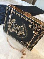 PRIMARK HARRY POTTER HOGWARTS BLACK GOLD SPELL BOOK CLUTCH CHAIN SHOULDER BAG BN