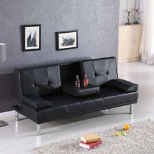 Modern Black Luxury Style Fold Up Down Recliner Sofa Bed with Cup Holders