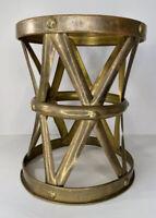"Vintage Brass Mid Century Modern Drum ""X"" Table Plant Stand Stool Sarreid Style"