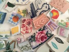 New listing Broken China Mosaic Tiles Huge Lot 4 lbs. Mostly Flowers, Leaves ,Borders,