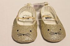 NWT Carter's Gold Glitter Kitty Cat Shoes Infant Baby Girl sz 6-9 Months