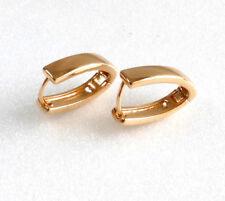 Plated 18x4mm V Shape Snap Close fashion1uk Creole Huggie Hoop Earrings 18K Gold