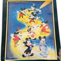 Vintage 1986 Walt Disney Mickey Mouse - Through The Years Framed Poster - 28x22