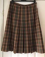 Windsmoor Wool Blend Vintage Skirt Pleated Green Tartan Check Lined Sz UK 14/16