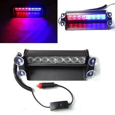8LED Red/Blue Car Truck Police Strobe Emergency 3 Flashing Light Flash Dash Lamp
