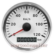 85mm GPS Blanco Velocímetro Inoxidable Calibre 120KMH Coche Camión Barco 12/24V