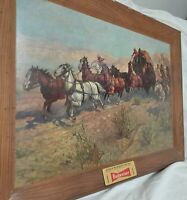 """RARE!! VINTAGE 1952 Budweiser """"Attack On The Overland Stage 1860"""" Art Print"""