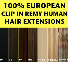 100% EUROPEAN CLIP IN REMY HUMAN HAIR EXTENSIONS Brown Blonde Black