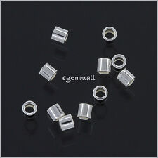 50 Sterling Silver Tube Crimp Beads Spacer 2x2mm #97620