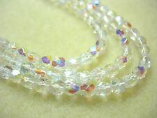 100 Crystal AB Czech Fire Polish Glass beads 4mm