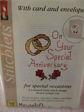 MOUSELOFT STITCHLETS CROSS STITCH KIT~ SPECIAL ANNIVERSARY~CARD & ENVELOPE ~ NEW
