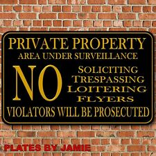"Private Property No Soliciting No Trespassing Video Surveillance Sign 8""x12""  B"