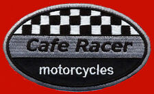 CAFE RACER CHECKER FLAG EMBROIDERED OVAL 3.5 INCH  PATCH