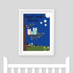 Nursery Rhyme Print Twinkle Twinkle Kids Bedroom Baby Shower Gift Playroom