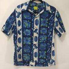 Vintage Ui-Maikai Hawaiian Shirt - Blue/White Tribal Mask - LARGE