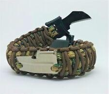 Paracord Bracelet w/ Knife buckle, Fire Starter, Whistle, Handmade Camo Survival