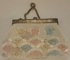 Vintage  White Beaded Evening Bag w/ Beaded Handle and Mother of Pearl Clasp