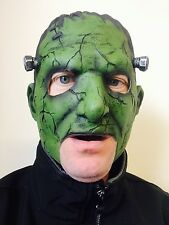 Frankenstein Monster Open Mouth Mask Green Latex Halloween Costume Accessory