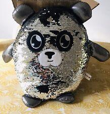 New Glitter Palz Reversable Sequin Plush Toy Panda Silver/Black
