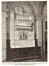 Antique print Santa Maria del Popolo tomb stampa antica Pietro Guglielmo Rocca