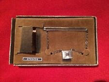 Vtg Sterling Silver Tie Clip Tie Clasp on Chain w/ Pendant MACO Sterling Silver