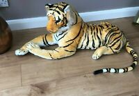Large Tiger Giant Lying Soft Toy Plush 138cm Realistic Features Bengal Cat
