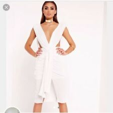 Miss Guided White Plunge Split Dress Size 6 ( Peace And Love)