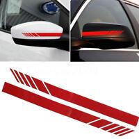 2Pcs Red Car Rear view Mirror Sticker Racing Reflective Decal Emblem Decor