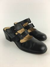 Focus Black Nappa Chunky Block Heel Open Back Buckle Leather Mules Size 10 B