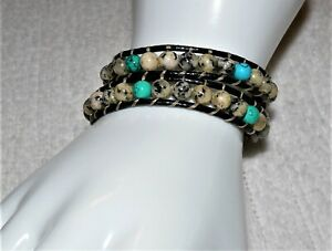 Double Wrap Beaded on Leather Turquoise & Dalmatian Jasper Bracelet