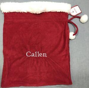 Pottery Barn Kids Red Sherpa Christmas Small Santa Bag Callen Monogram