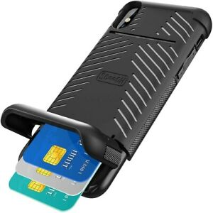 Scooch Wingmate Case for iPhone XR Wireless Charging 3 Credit Card Storage Black