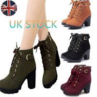 UK Women's Lace Up Zip Ankle Boots Platform Chunky Block Heels Winter Punk Shoes