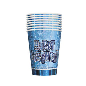 PACK OF 8 BLUE HAPPY BIRTHDAY PAPER CUPS