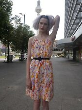 KLEID M 70er Flower Power Lolita Fee Waffeloptik TRUE VINTAGE sun dress 70s