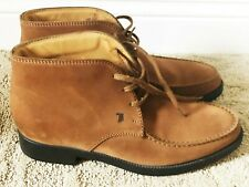 TOD'S NUBUCK LEATHER BROWN LACE UP ANKLE BOOTS SIZE: 6.5 / EUR 39