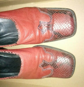 Red Leather and ' Snakeskin ' Mules SIZE 5