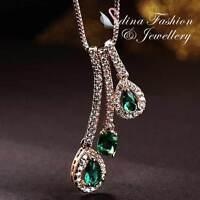 18K Rose Gold GF Made With Swarovski Crystal 3x Stick Teardrop Emerald Necklace
