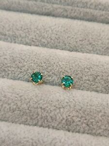 Stud Earrings Diamond Unique Emerald 2ct Solitaire Solid 9ct Gold